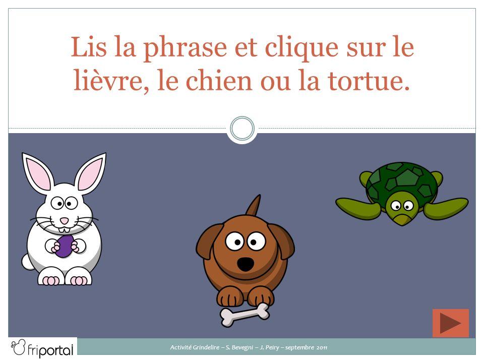 Lis la phrase et clique sur le lièvre, le chien ou la tortue.