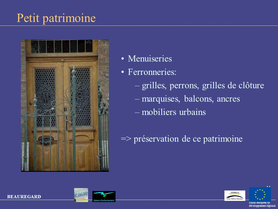 Petit patrimoine Menuiseries Ferronneries: