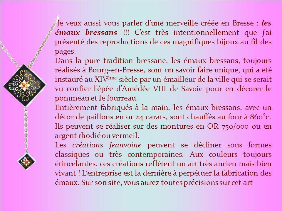 Je veux aussi vous parler d'une merveille créée en Bresse : les émaux bressans !!! C'est très intentionnellement que j'ai présenté des reproductions de ces magnifiques bijoux au fil des pages.