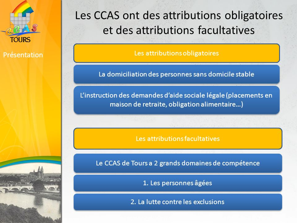 Les CCAS ont des attributions obligatoires et des attributions facultatives