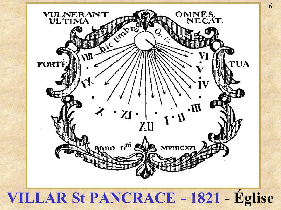 VILLAR St PANCRACE - 1821 - Église