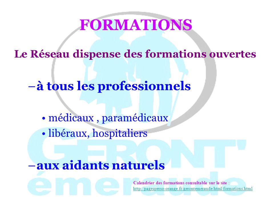 FORMATIONS à tous les professionnels aux aidants naturels
