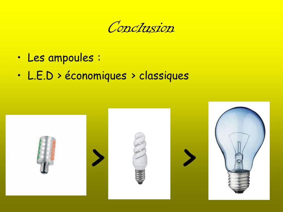 > > Conclusion Les ampoules :