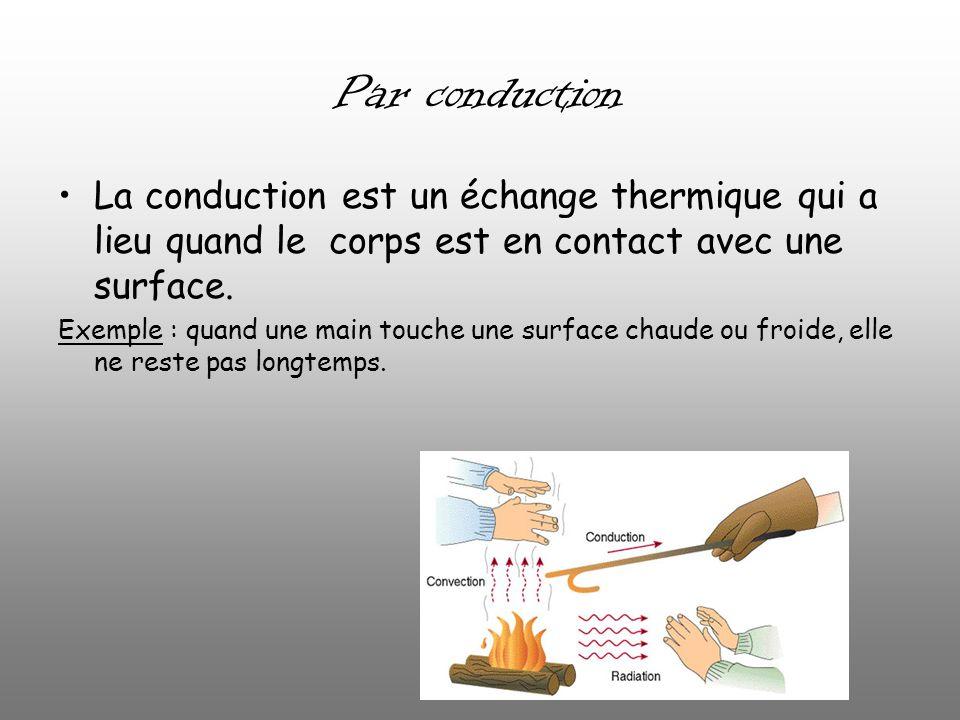 Par conduction La conduction est un échange thermique qui a lieu quand le corps est en contact avec une surface.