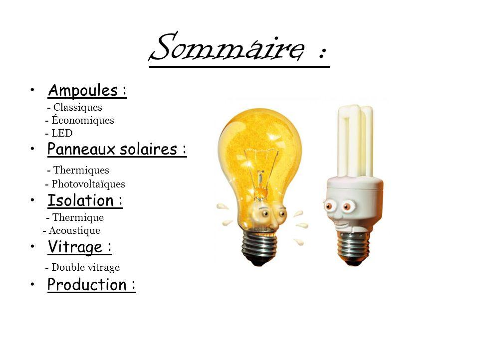 Sommaire : Ampoules : Panneaux solaires : - Thermiques Isolation :