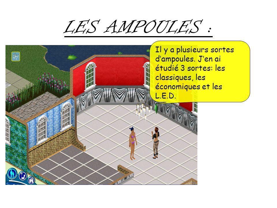 LES AMPOULES : Il y a plusieurs sortes d'ampoules.