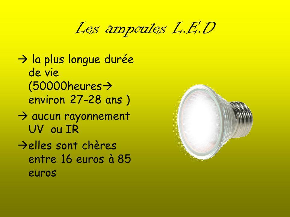 Les ampoules L.E.D  la plus longue durée de vie (50000heures environ 27-28 ans )  aucun rayonnement UV ou IR.
