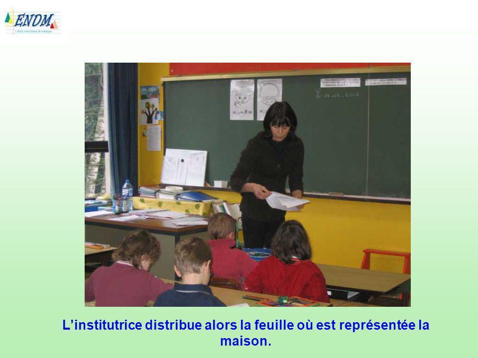L'institutrice distribue alors la feuille où est représentée la maison.