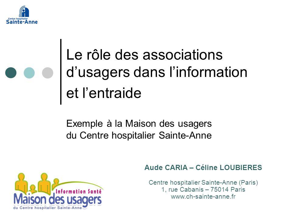 Exemple à la Maison des usagers du Centre hospitalier Sainte-Anne