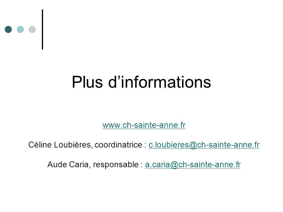 Plus d'informations www.ch-sainte-anne.fr