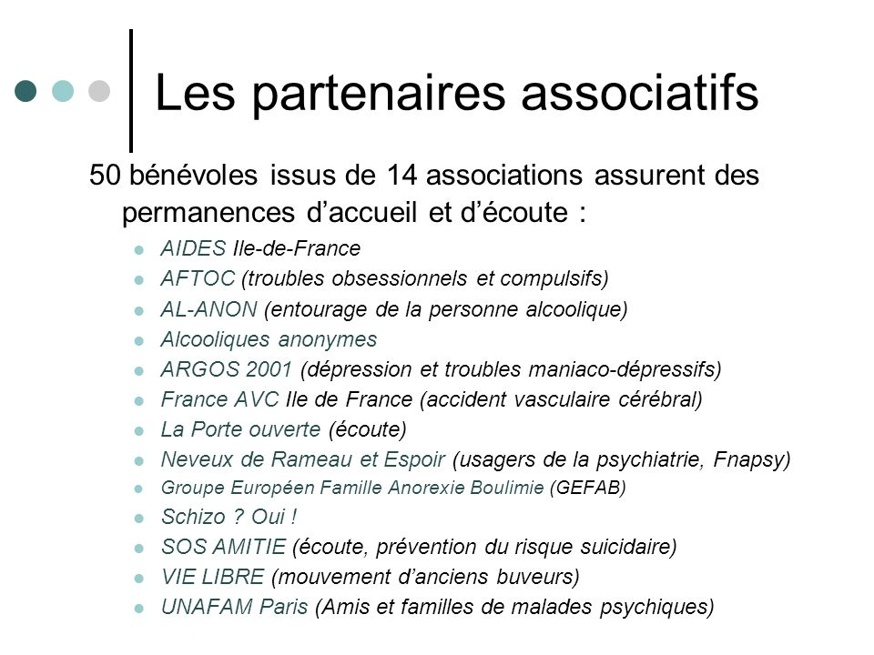 Les partenaires associatifs