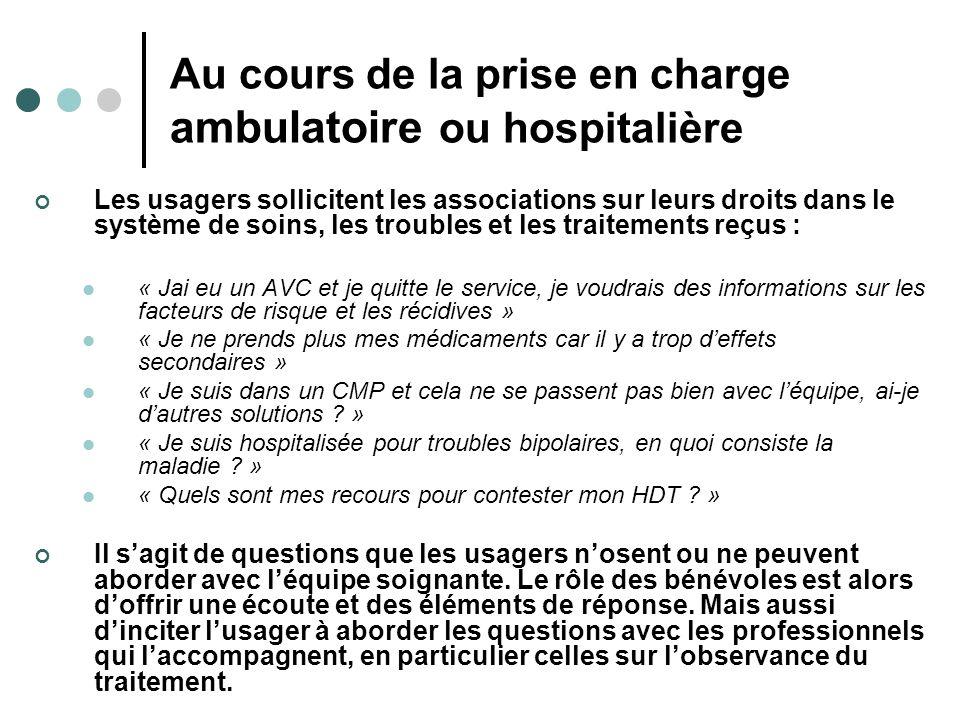 Au cours de la prise en charge ambulatoire ou hospitalière