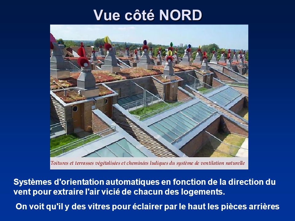 Vue côté NORD Systèmes d orientation automatiques en fonction de la direction du vent pour extraire l air vicié de chacun des logements.