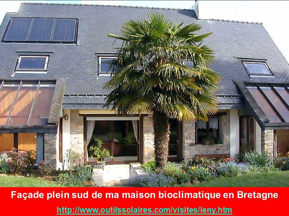Façade plein sud de ma maison bioclimatique en Bretagne