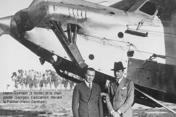 Henri Germain (à droite) et le chef-pilote Georges Descamps devant le Fokker (Henri Germain)