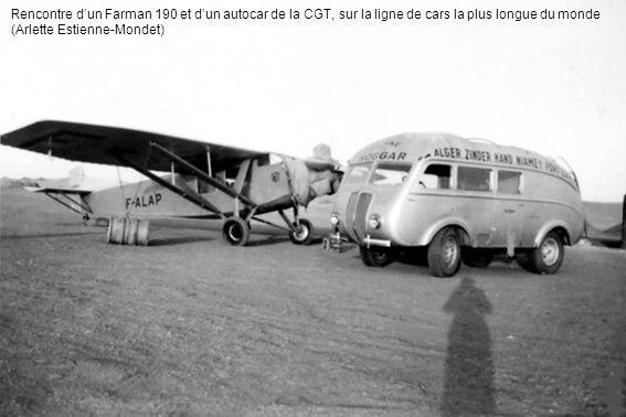 Rencontre d'un Farman 190 et d'un autocar de la CGT, sur la ligne de cars la plus longue du monde (Arlette Estienne-Mondet)
