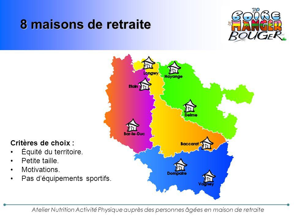 8 maisons de retraite Critères de choix : Équité du territoire.