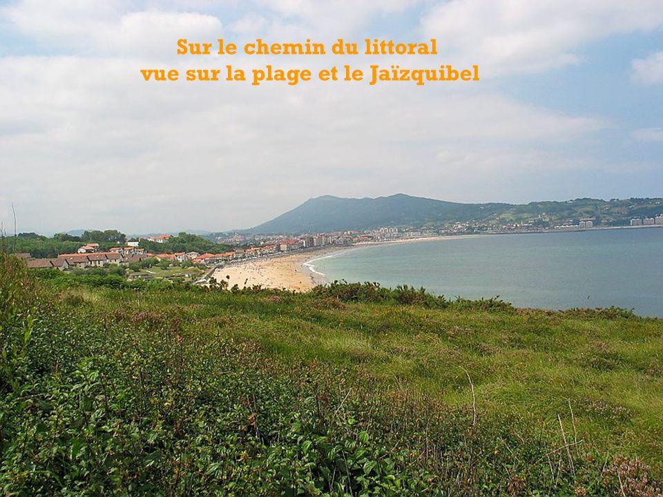 Sur le chemin du littoral vue sur la plage et le Jaïzquibel