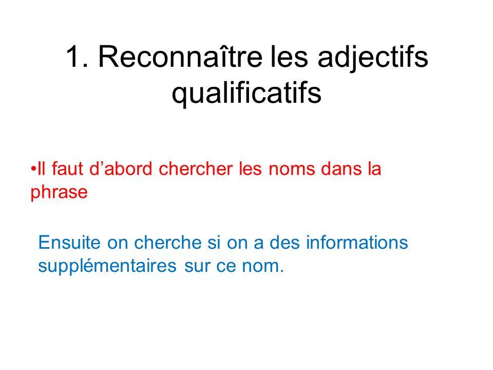 1. Reconnaître les adjectifs qualificatifs