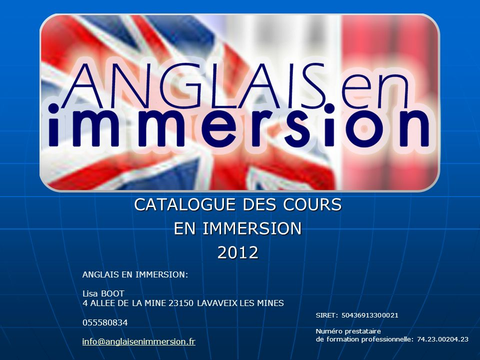 CATALOGUE DES COURS EN IMMERSION 2012