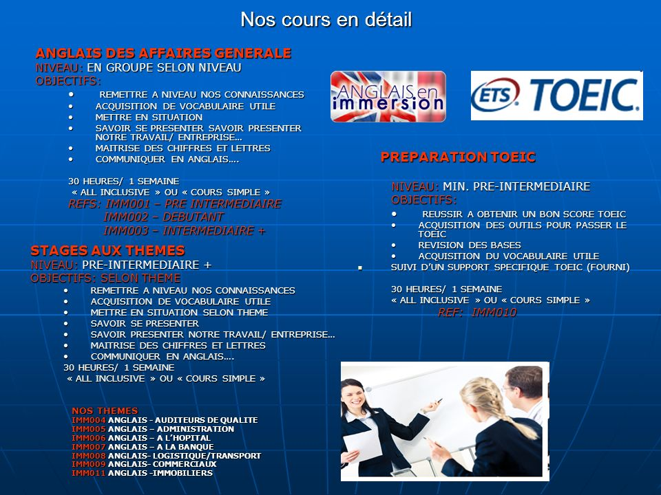 Catalogue des cours en immersion ppt video online t l charger for Maitrise d ouvrage en anglais
