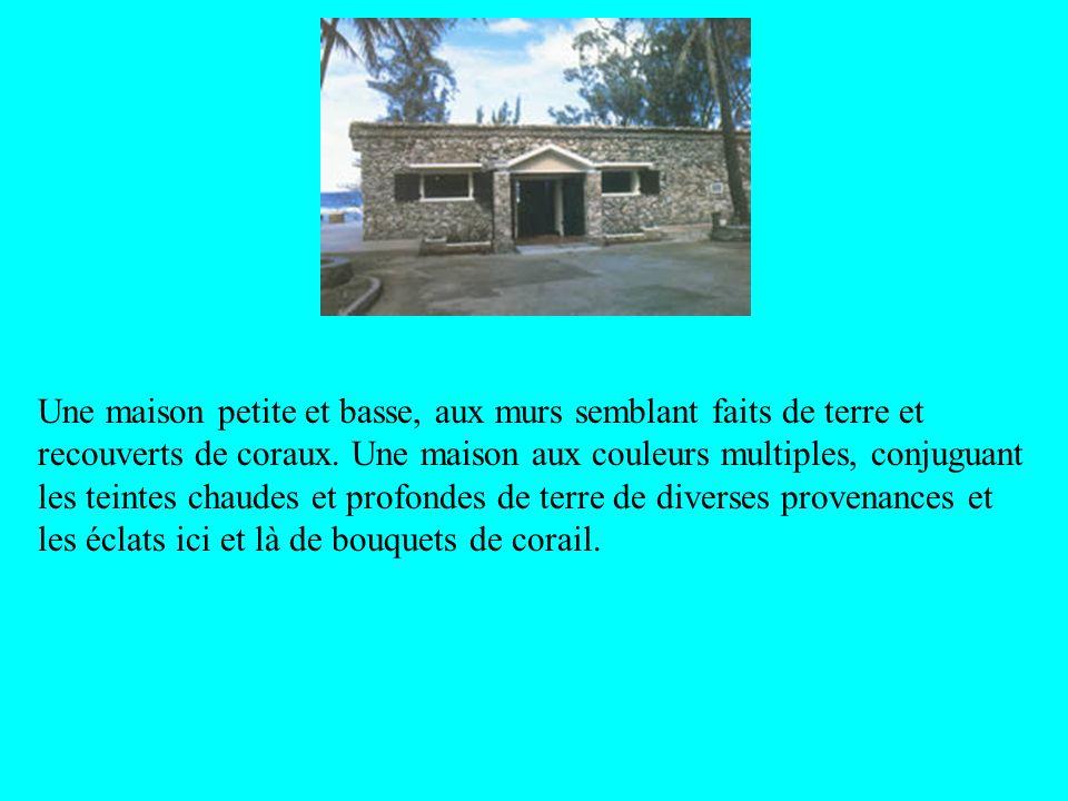 Une maison petite et basse, aux murs semblant faits de terre et recouverts de coraux.