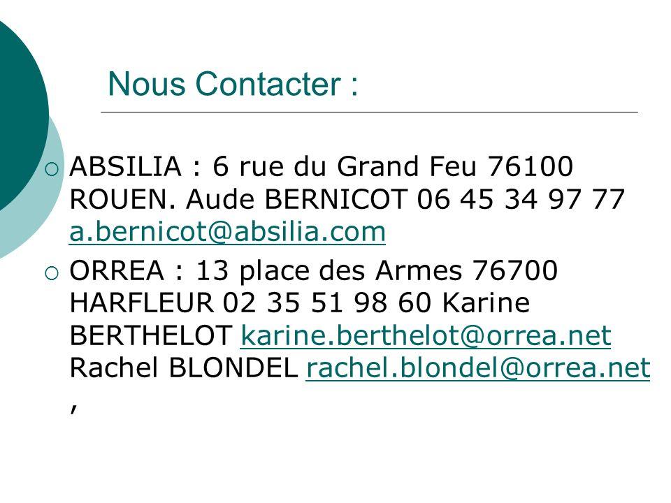 Nous Contacter : ABSILIA : 6 rue du Grand Feu 76100 ROUEN. Aude BERNICOT 06 45 34 97 77 a.bernicot@absilia.com.