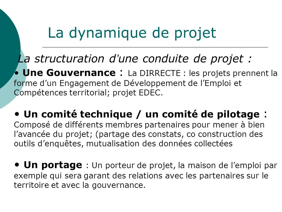 La dynamique de projet La structuration d'une conduite de projet :