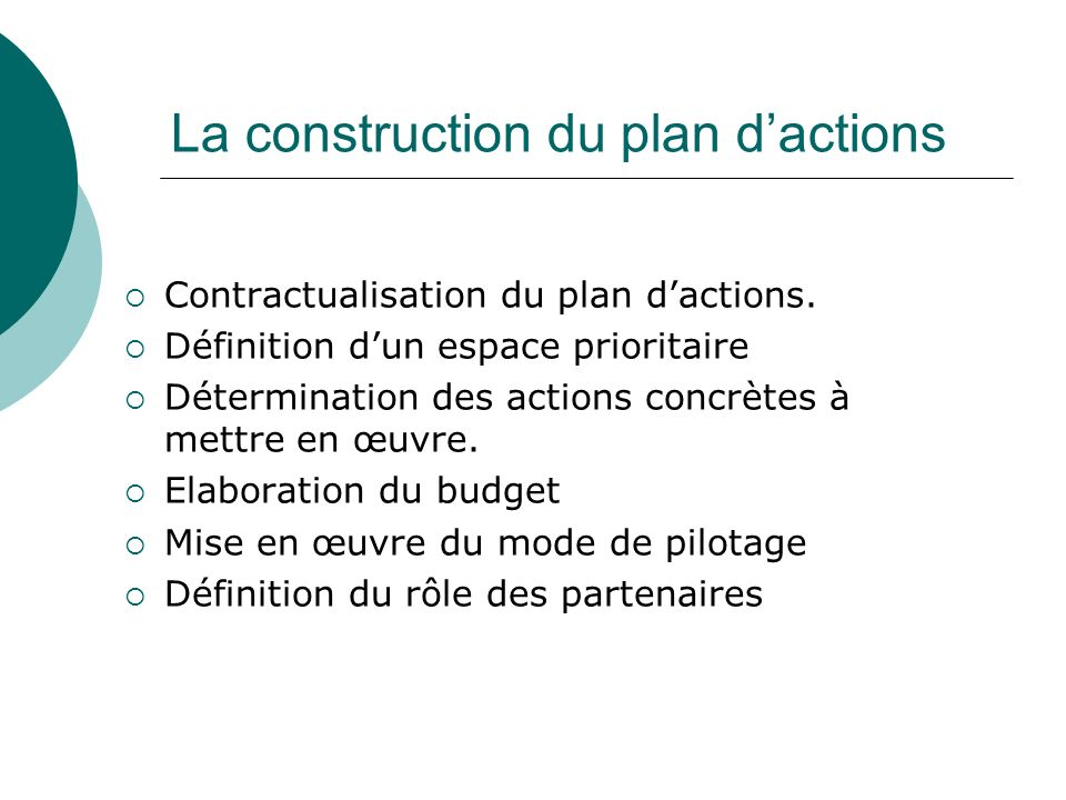 La construction du plan d'actions