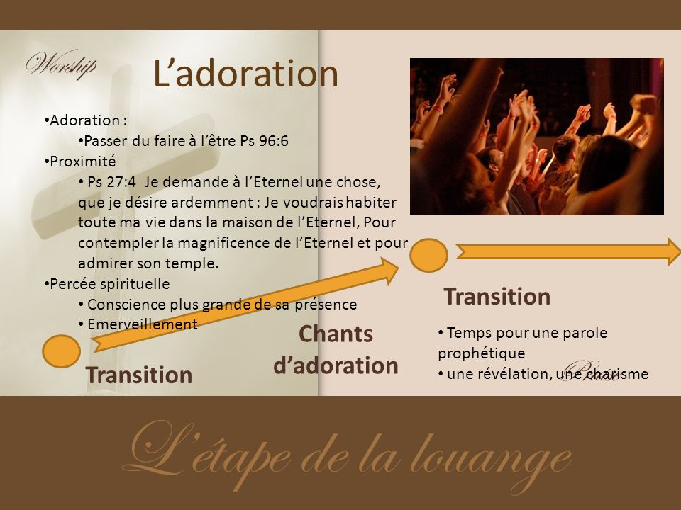 L'étape de la louange L'adoration Worship Praise Transition