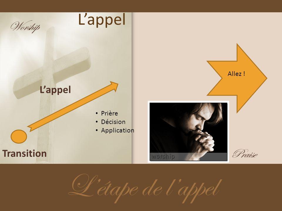 L'étape de l'appel L'appel Worship Praise L'appel Transition Allez !
