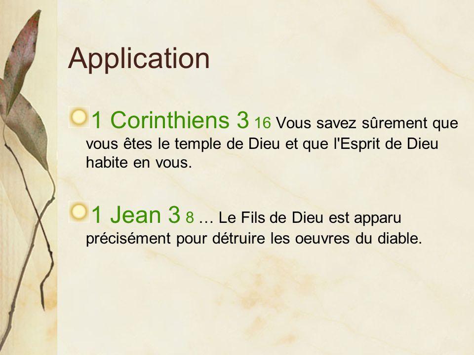 Application 1 Corinthiens 3 16 Vous savez sûrement que vous êtes le temple de Dieu et que l Esprit de Dieu habite en vous.