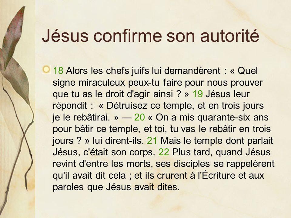 Jésus confirme son autorité