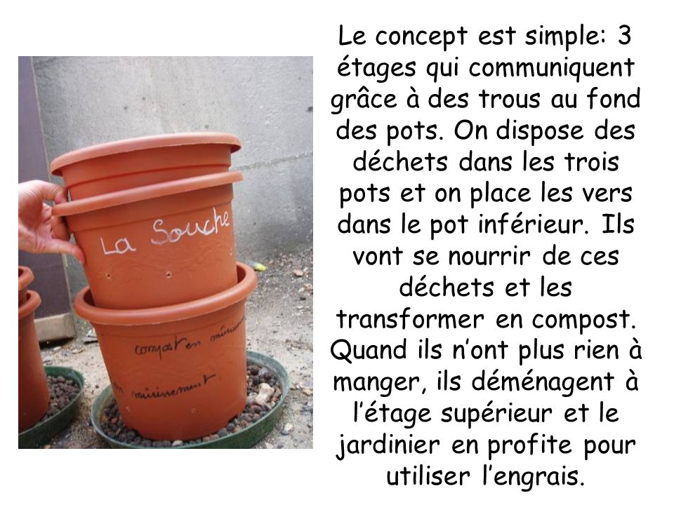Le concept est simple: 3 étages qui communiquent grâce à des trous au fond des pots.