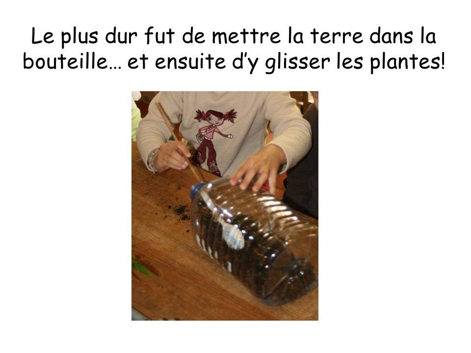 Le plus dur fut de mettre la terre dans la bouteille… et ensuite d'y glisser les plantes!
