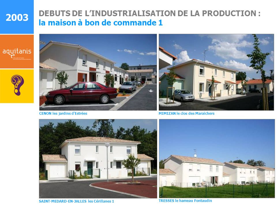 2003 DEBUTS DE L'INDUSTRIALISATION DE LA PRODUCTION :