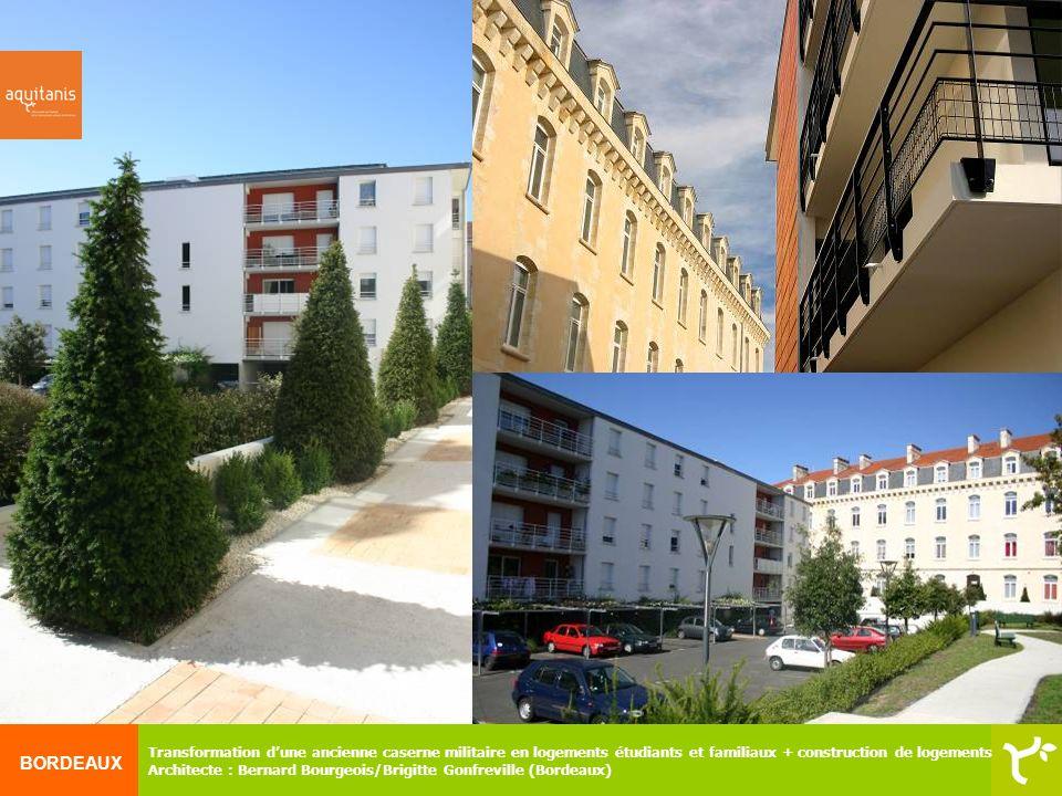 Transformation d'une ancienne caserne militaire en logements étudiants et familiaux + construction de logements