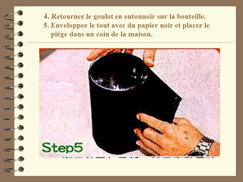 4. Retournez le goulot en entonnoir sur la bouteille. 5