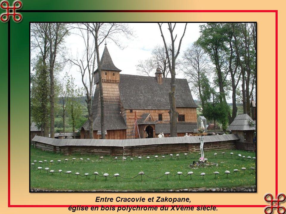 Entre Cracovie et Zakopane, église en bois polychrome du XVème siècle.