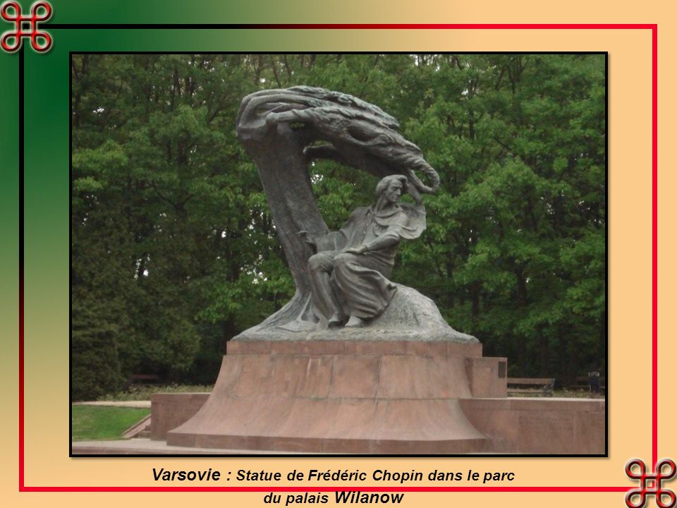Varsovie : Statue de Frédéric Chopin dans le parc
