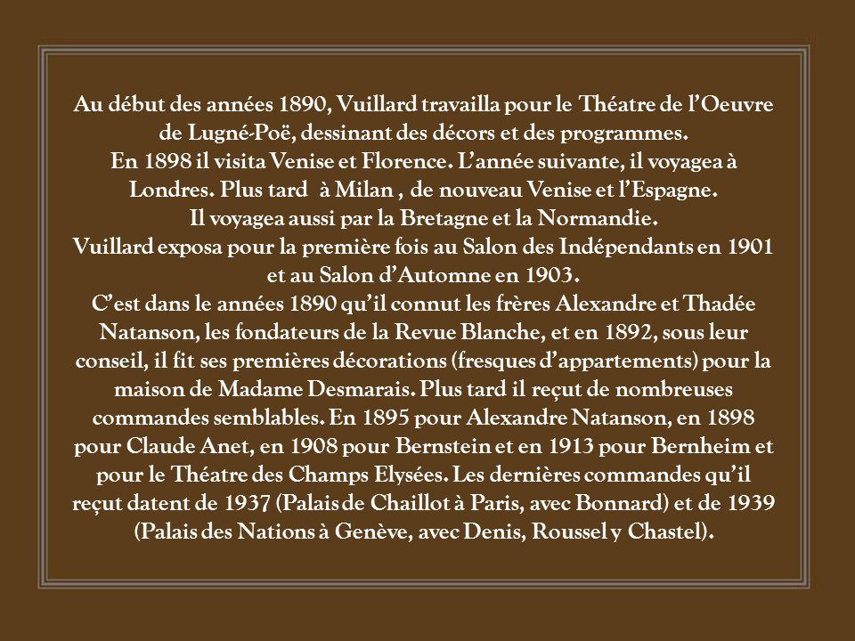Au début des années 1890, Vuillard travailla pour le Théatre de l'Oeuvre de Lugné-Poë, dessinant des décors et des programmes.