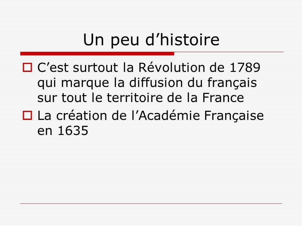 Un peu d'histoire C'est surtout la Révolution de 1789 qui marque la diffusion du français sur tout le territoire de la France.