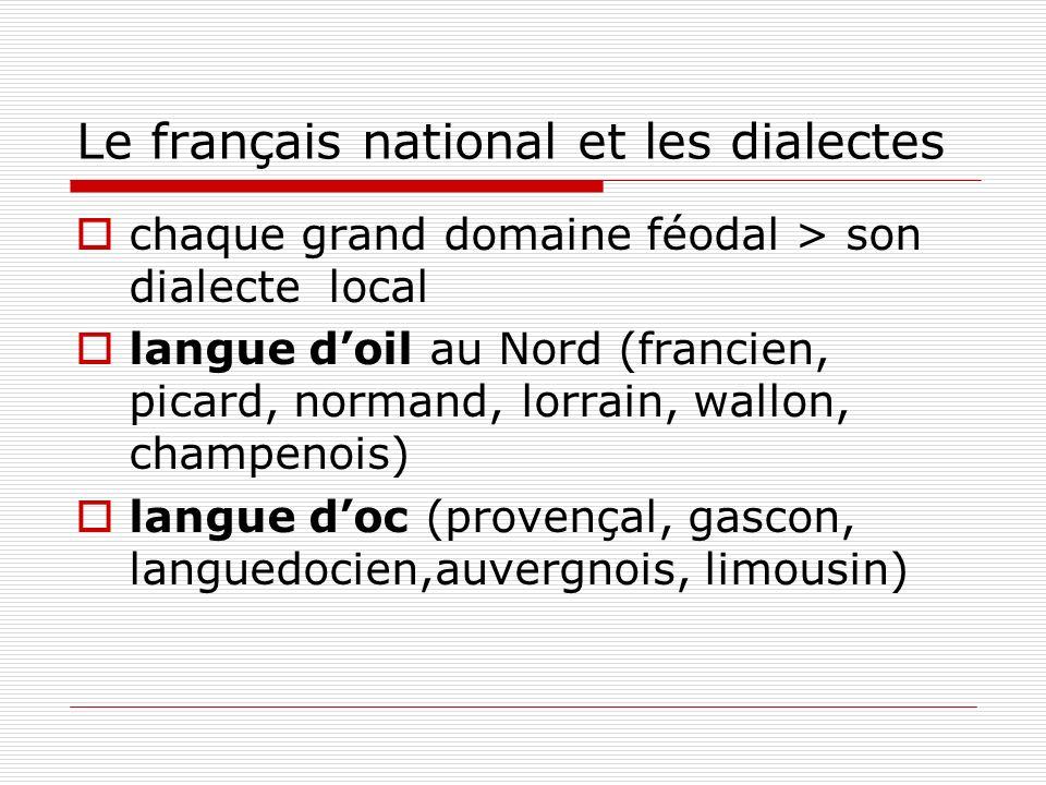 Le français national et les dialectes