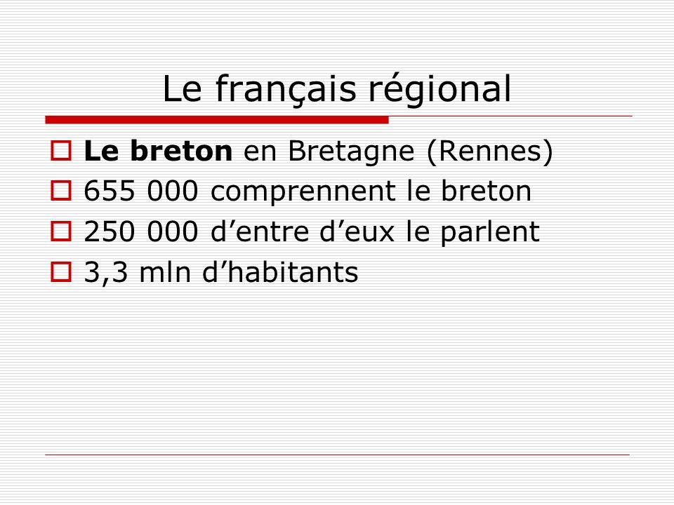 Le français régional Le breton en Bretagne (Rennes)