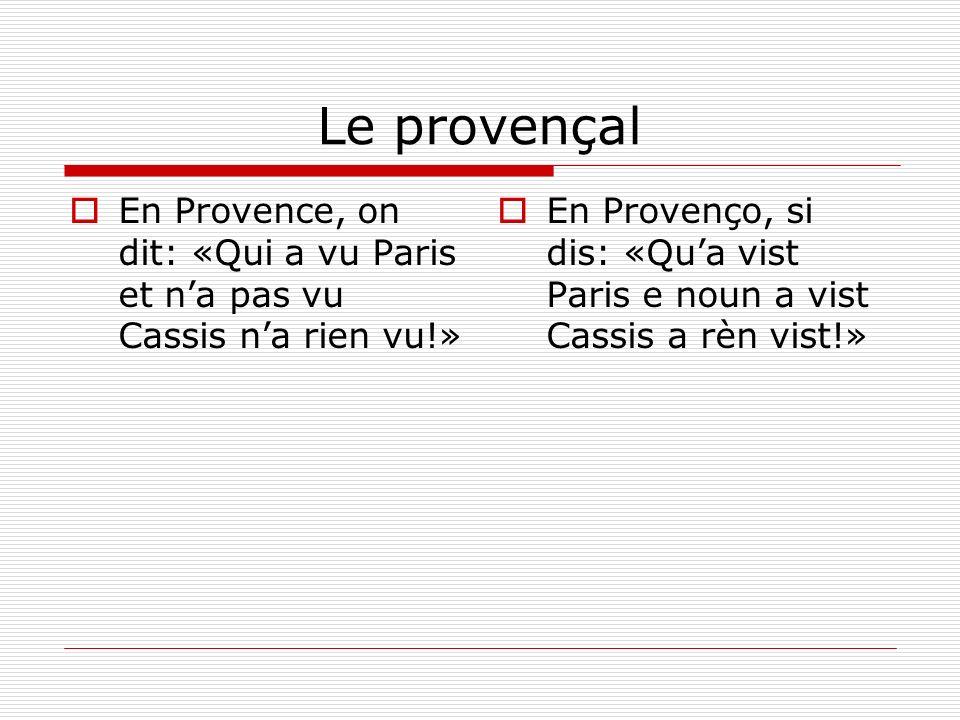 Le provençal En Provence, on dit: «Qui a vu Paris et n'a pas vu Cassis n'a rien vu!»