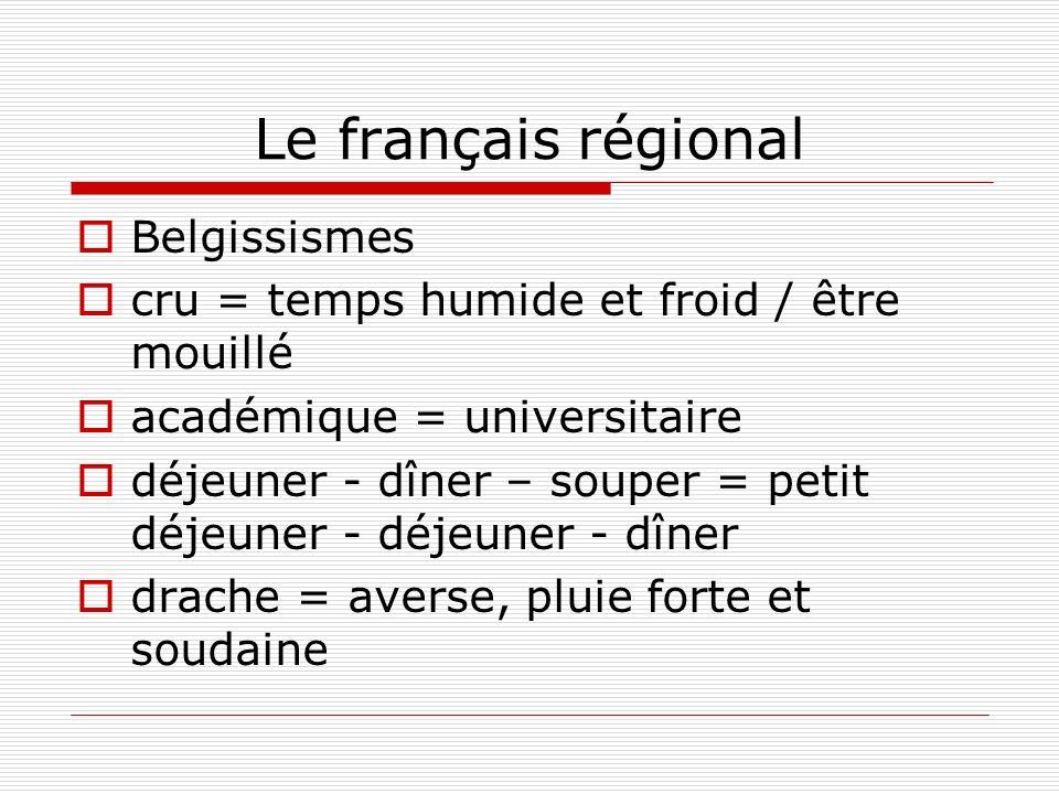 Le français régional Belgissismes