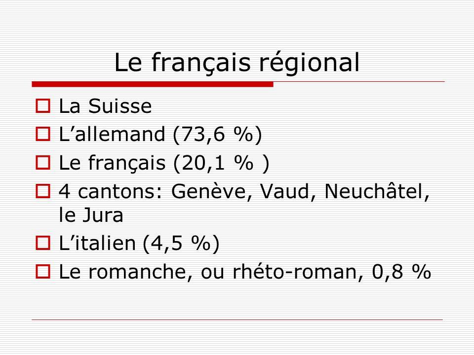 Le français régional La Suisse L'allemand (73,6 %)