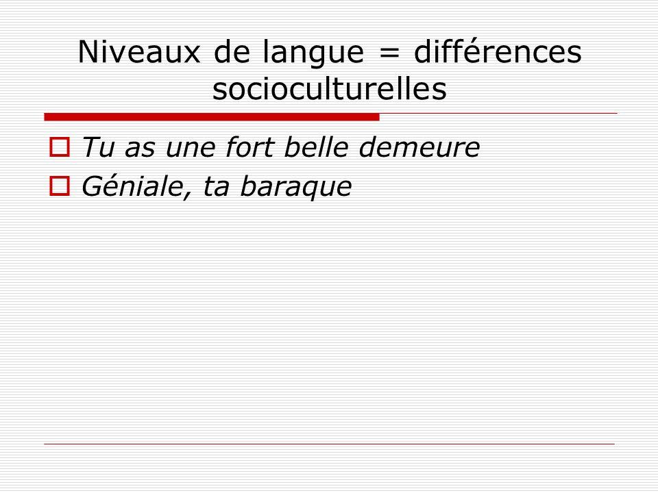 Niveaux de langue = différences socioculturelles