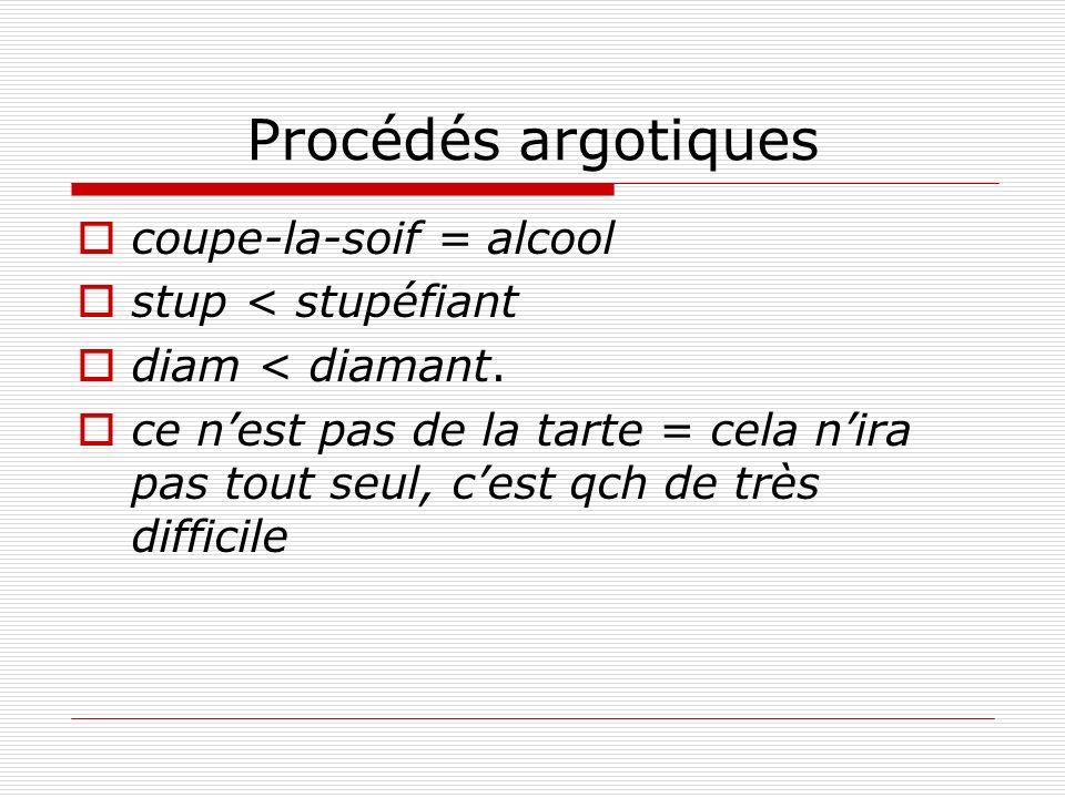Procédés argotiques coupe-la-soif = alcool stup < stupéfiant