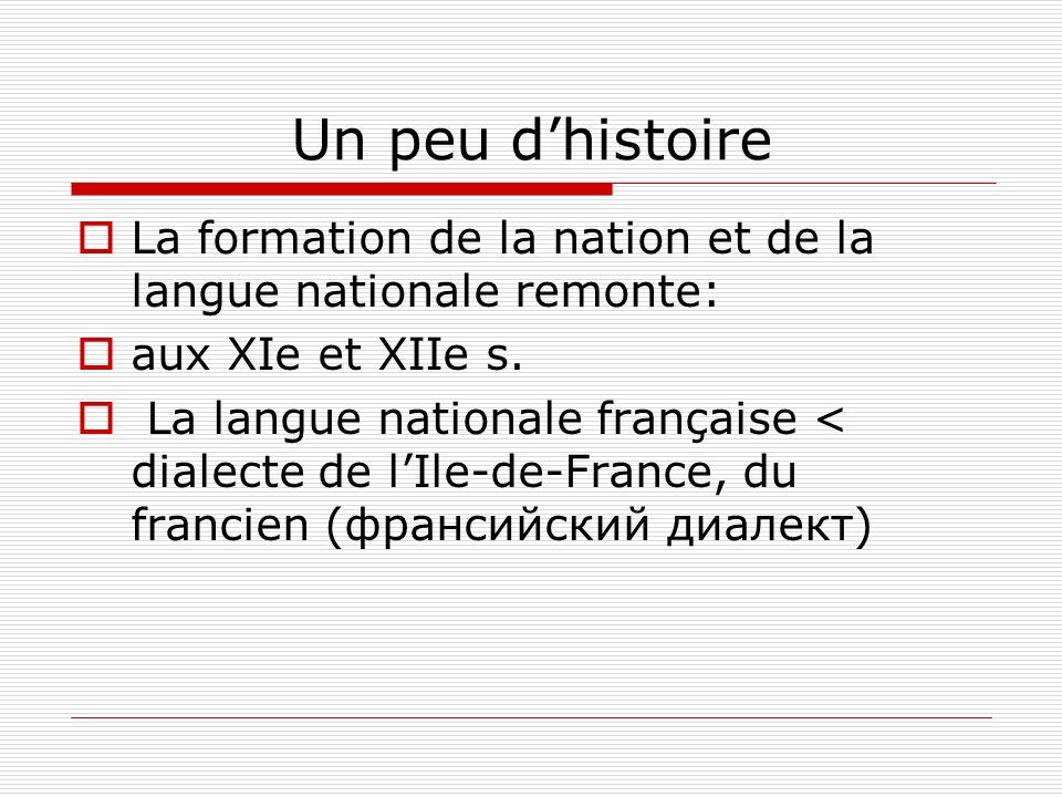 Un peu d'histoire La formation de la nation et de la langue nationale remonte: aux XIe et XIIe s.